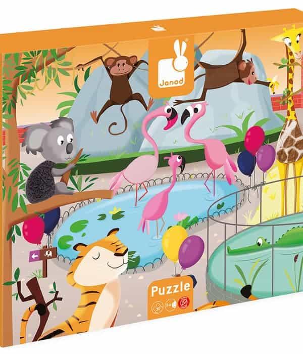 Janod - Tapintható puzzle - Egy nap az állatkertben