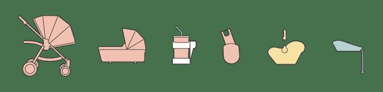 Ocarro 5 részes babakocsi csomag – Grey Twill