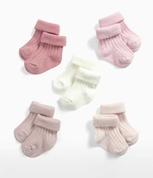Rózsaszín bordázott zokni – 5db