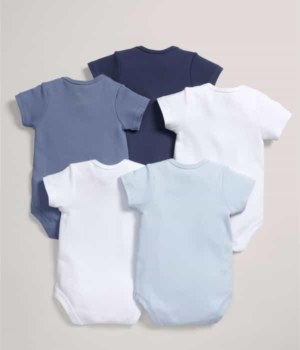 Kék rövid ujjú body, 5 darabos csomag
