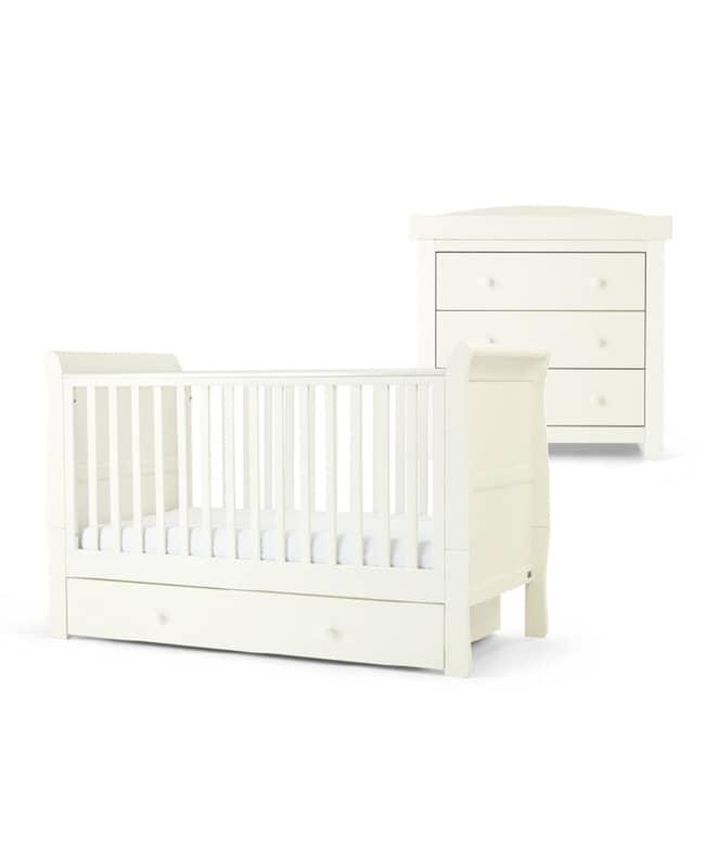 Mia 2 részes babaágy (70*140) és pelenkázókomód szett - Pure White